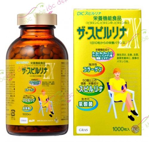 Tảo vàng Spirulina cao cấp Nhật Bản 1000 viên
