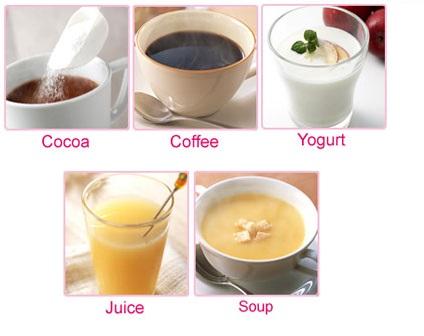 Collagen Meiji Premium có thể pha cùng nhiều loại đồ uống