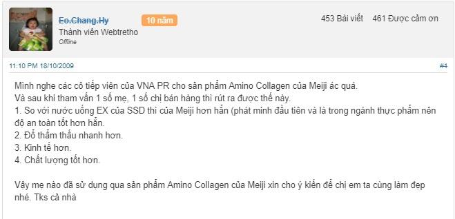 Collagen Meiji Premium dạng bột review tù thành viên webtretho