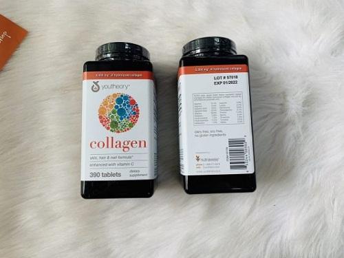 mặt trước và sau hộp  Collagen Advanced Formula 390