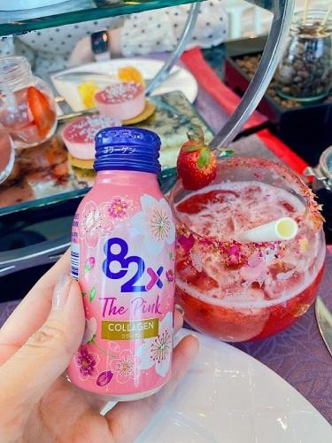 Nước uống Collagen 82X The Pink Nhật Bản hộp 10 chai x 100ml