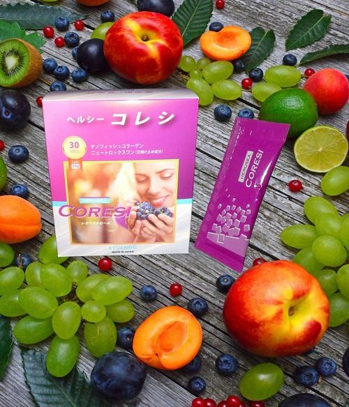 Nước uống trắng da chống nắng Silk Collagen Herusea Coresi của Nhật