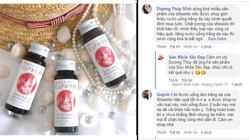 Shiseido Pure White drink review trên fanpage Sức khỏe Sắc đẹp