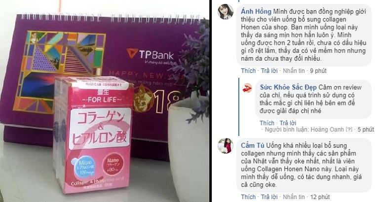 Phản hồi về viên uống Collagen Honen Nano trên fanpage