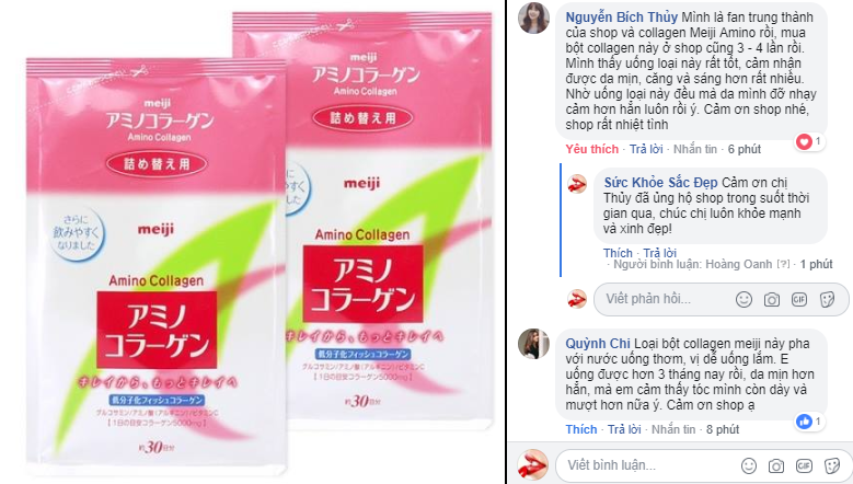 Meiji Amino Collagen review trên fanpage