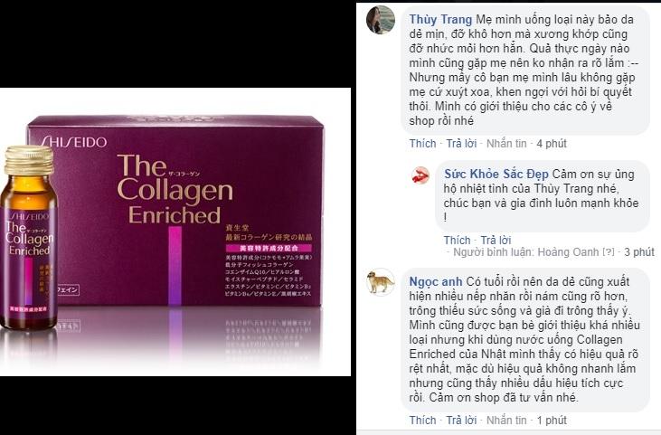 The Collagen Enriched Shiseido phản hồi tốt trên fanpage