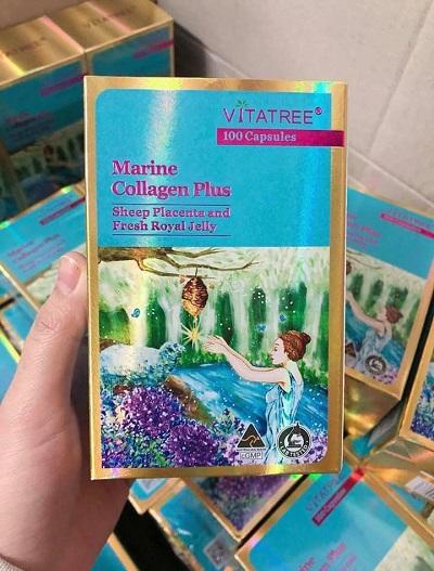 Viên uống bổ sung Collagen Vitatree Marine Collagen Plus 100 viên Úc