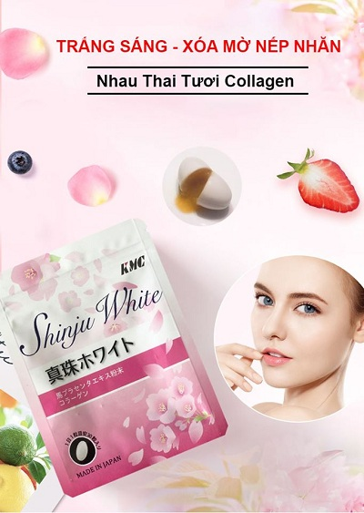 Viên uống Shinju White collagen nhau thai tươi Nhật Bản 30 viên