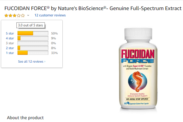 Fucoidan Force review trên trang Amazon