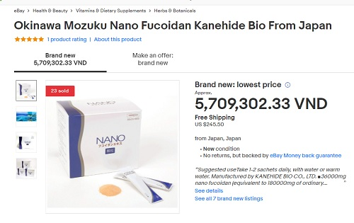 Đánh giá Nano Fucoidan Extract Granule trên ebay