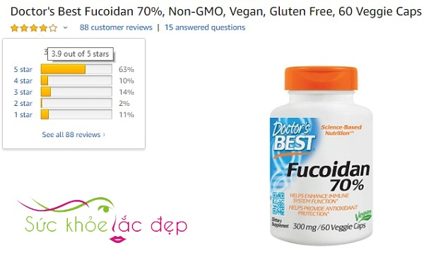 Người dùng đánh giá cao Best Fucoidan trên Amazon