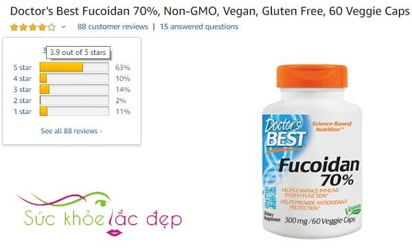 Người dùng đánh giá cao về Best Fucoidan 70% trên Amazon