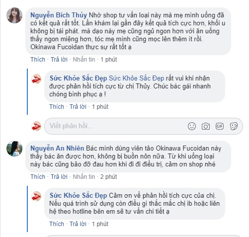 Fucoidan Okinawa review trên fanpage