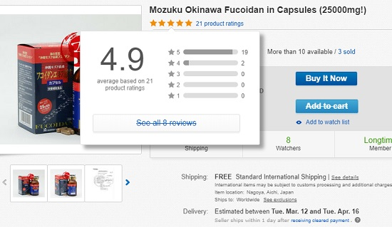 Okinawa Fucoidan đánh giá cao trên ebay