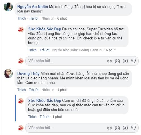 Super Fucoidan review trên fanpage
