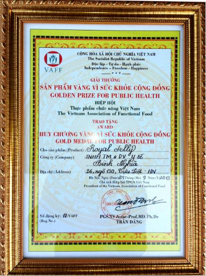 Chứng nhận huy chương vàng vì sức khỏe cộng đồng
