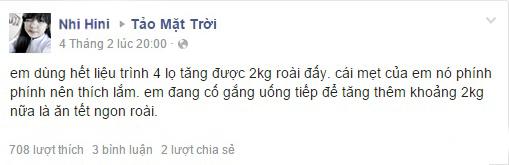 Chia sẻ của Nhi trên facebook về tảo mặt trời