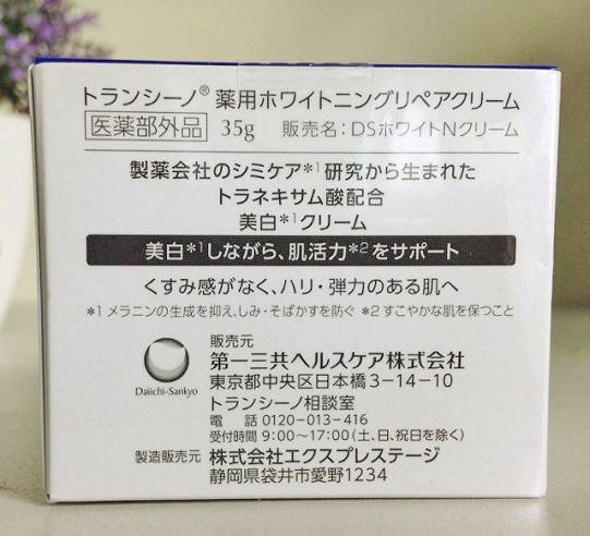 Transino Whitening Repair Cream do Daiichi Sankyo nghiên cứu và sản xuất