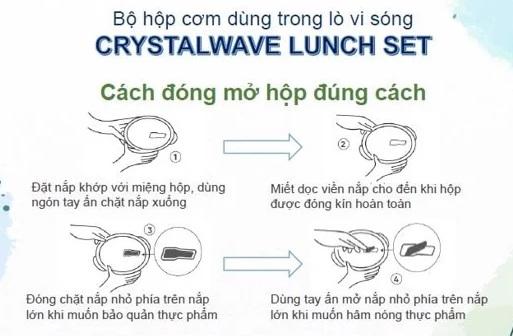 hướng dẫn cách đóng mở nắp hộp tupperware crystalwave lunch set