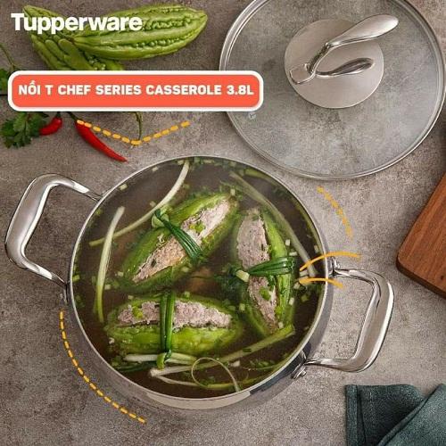 nồi t chef series casserole tupperware nắp kính