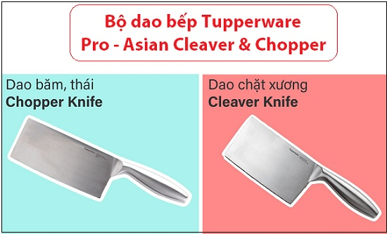 bộ dao pro-asian-cleaver-chopper của tupperware