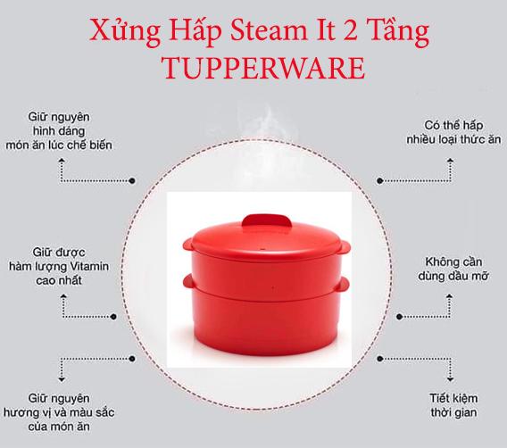 ưu điểm của xừng hấp steam it 2 tầng của tupperware
