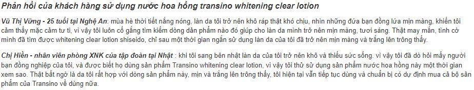 Đánh giá khách hàng về nước hoa hồng Transino Whitening Clear Lotion