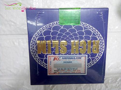 tem sản phẩm được in trên bao bì hộp sản phẩm rich slim