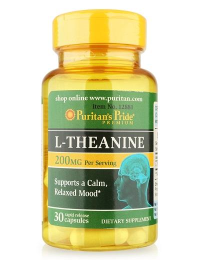 L-theanine 200mg support brain health lọ 30 viên puritan's pride premium