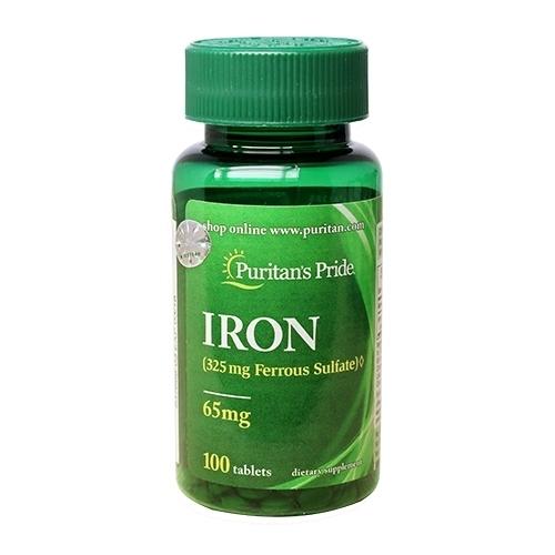 iron ferrous sulfate 65 mg puritan's pride lọ 100 viên