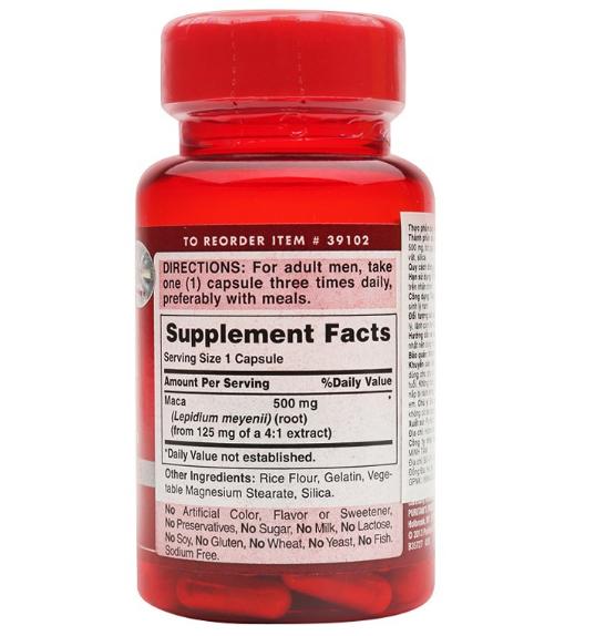 Nam giới trưởng thành chỉ cần uống 1 viên maca 500 mg puritan's pride mỗi ngày