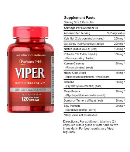 Nam giới uống 2 viên viper puritan's pride mỗi ngày chậm mãn dục