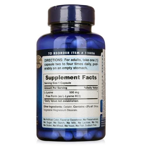 Uống 4 viên l-lysine 500mg puritan's pride mỗi ngày tăng hiệu quả tập gym