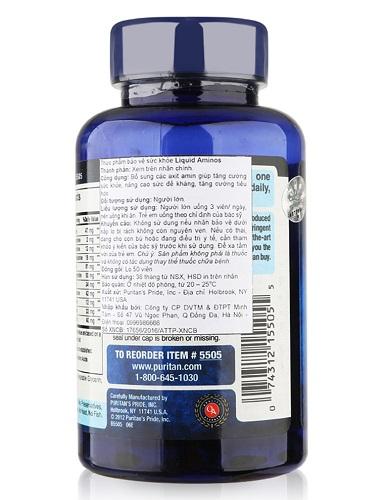 Người tập gym uống 4 viên amino acid liquid puritan's pride thêm vào thực đơn