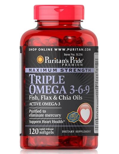 triple omega 3-6-9 120 viên chia oil puritan's pride