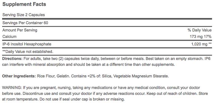 Chỉ cần uống 1 viên ip-6 inositol hexaphosphate 510 mg mỗi ngày ngăn ngừa ung thư