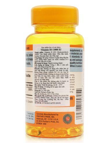 Không nên uống quá 2 viên vitamin d3 1000 iu puritans pride một ngày