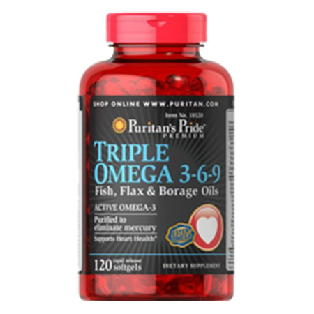 Triple omega 3-6-9 120 viên fish flax and chia oils puritan's pride