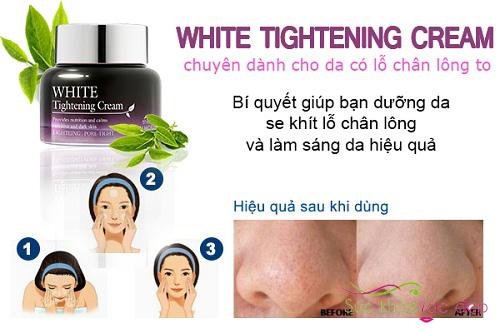 công dụng của kem dưỡng white tightening cream the skin house