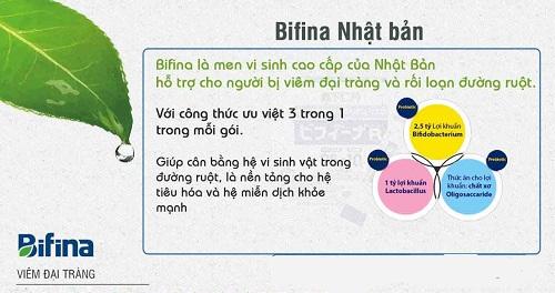 Điều trị viêm đại tràng với men vi sinh Bifina R Nhật Bản