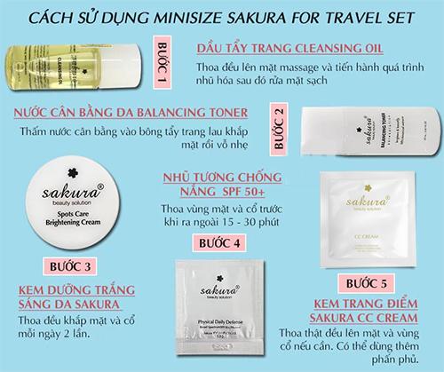 cách dùng bộ sản phẩm chăm sóc da travel kit sakura