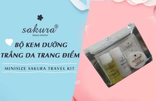 bộ sản phẩm chăm sóc da travel kit sakura