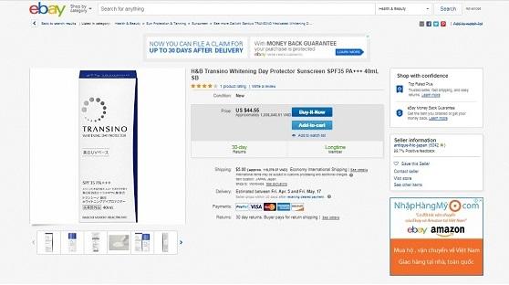 Kem chống nắng trị nám dưỡng trắng Transino Whitening Day Protector review trên Ebay