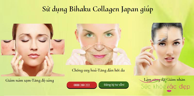 Công dụng Viên uống trắng da Bihaku Collagen trắng da Nhật Bản