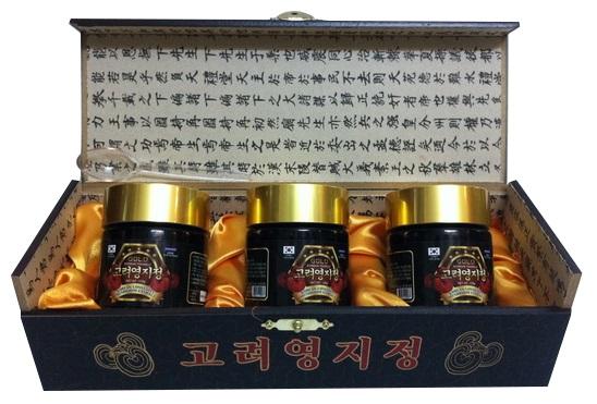 Cao linh chi đen hộp gỗ Hàn Quốc chất lượng thượng hạng