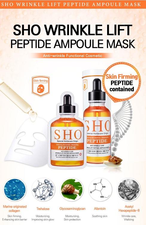 Sho Ampoule Mask Peptide Anti – Mặt nạ dưỡng ẩm trắng da Hàn Quốc