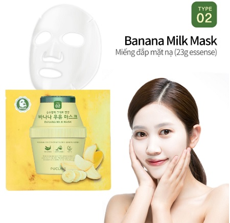 Puclair Banana Milk Mask – Mặt nạ sữa chuối giúp dưỡng ẩm da
