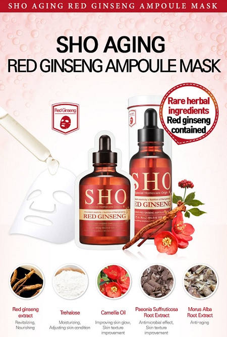 Mặt nạ hồng sâm Sho Red Ginseng Aging Red Ginseng Ampoule Mask