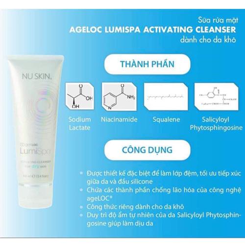 Sữa rửa mặt ageLOC LumiSpa Activating Cleanser dành cho da khô