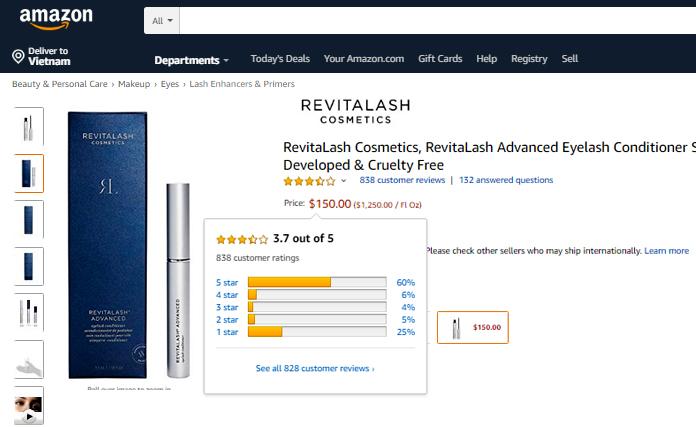 Review dùng Serum Revitalash Advanced 3D 3.5ml  trên amazon